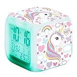Relojes despertadores Digitales LED, Accesorios de Dormitorio de Unicornio para decoración de habitación de niña, luz Que Cambia de 7 Colores, Regalo de Noche para niños