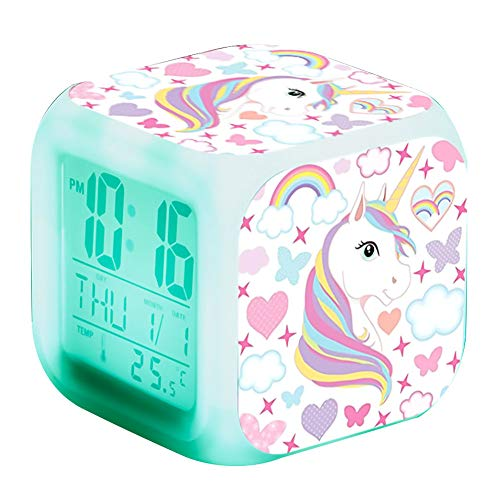 Alarma Unicornio Reloj Led Reloj Digital Color 7 Que Cambia Noche De La Luz Que Brilla Niños Despertador del Reloj del Escritorio Unicornio Regalo De Los Niños