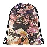 GSH 鬼滅の刃ナップサック プールバッグ ジムサック 防水仕様 巾着袋 軽量 スポーツバッグ 通学・運動・旅行に最適 アウトドア 収納バッグ