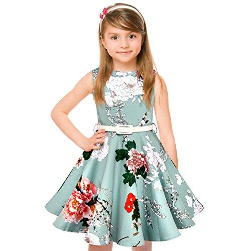 HBBMagic Maedchen Audrey 1950er Vintage Baumwolle Kleid Hepburn Stil Kleid Blumen Kleid Tupfen Kleid, Hellblaue Blume, 7-8 Jahre/124-132 CM