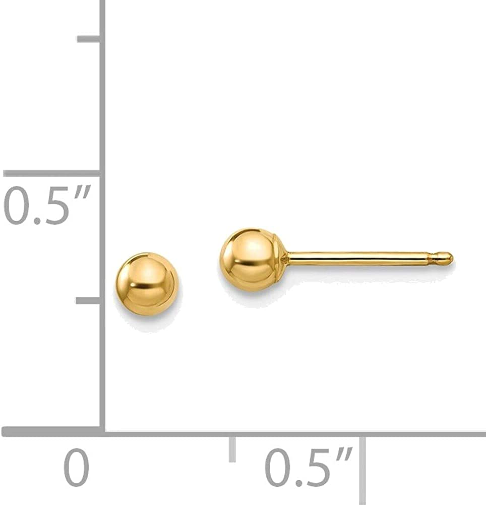 Madi K Polished 3mm Ball Post Earrings in 14K Yellow Gold