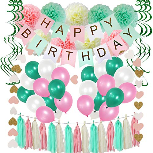 91 Pieces Birthday Party Decorations,Pink And Mint Green Birthday Party Supplies For Women,Happy Birthday Banners,Pom Poms Flowers,Tissue Paper Tassels,Hanging Swirls,Latex Balloons,For Girls 1st Birthday Party Supplies And Baby Birthday