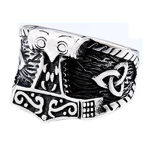Anillo Viking Mjolnir para Los Hombres, Nudo Celta Odin Runas de Cuervo Amuleto Pagano, Acero Inoxidable Nórdico Joyas Retro Totem,Celtic,11