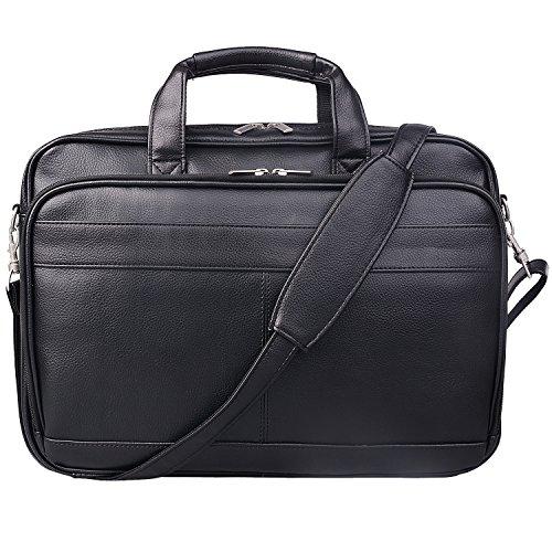 Jack&Chris Mens Briefcase Bag Leather 14' Laptop Messenger Bag Business Attache Case for Men MBYX014