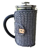 Grey French Press Cozy with Cup and Saucer Button