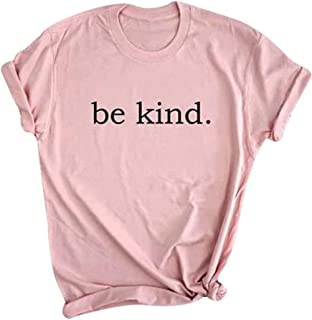 MAXIMGR Women's Be Kind Letters Printed T-Shirt Short Sleeve Round Neck Summer Tees Top