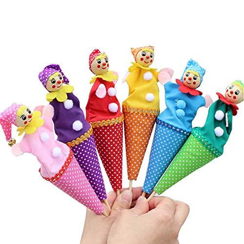TOPJIN 6 piezas marionetas de dedo payaso dedo juguetes historias para bebé niños historia juego