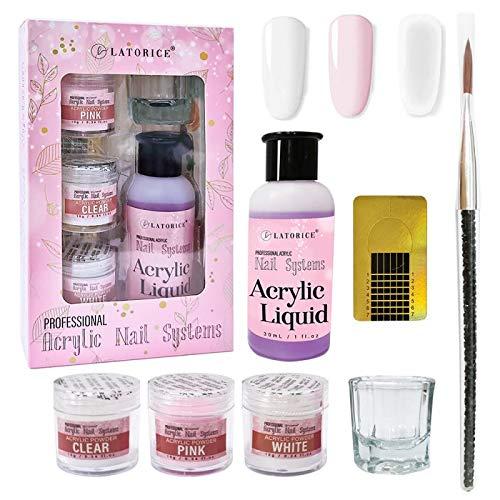 Acrylic Powder and liquid set of 3 Colors(Clear & pink & white), DIY Nail Art, Nail Extension, Non-Yellow Formula, Long-Wear, Reazeal