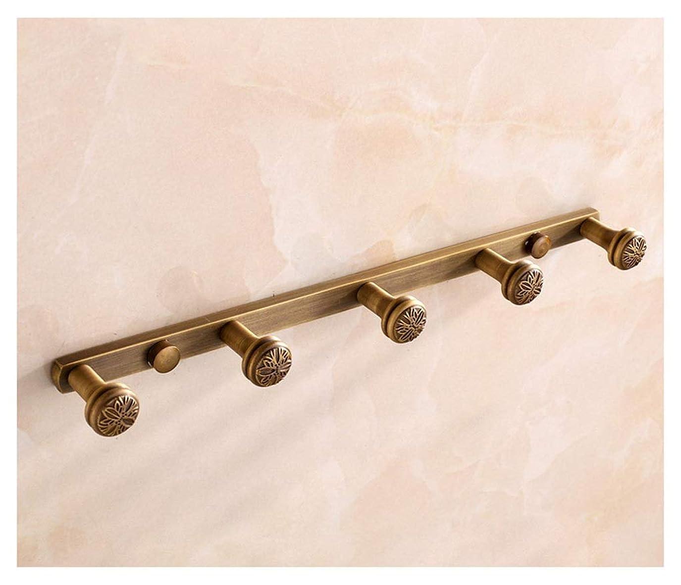 マージ霧好奇心盛GG_L ハンガーラック 服のフックの行フック - すべての銅ヨーロッパのソリッドコートフックアンティークのバスルームのリビングルームのベッドルームの洋服のフック