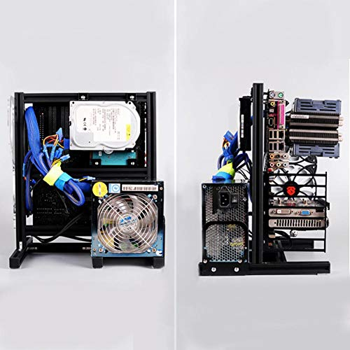 PUSOKEI M-ATX/ATX/ITX Motherboard Chassis DIY Set,Computer Aluminum Open Air Frame Chassis Case, Vertical Overclocking Open Aluminum Frame Chassis Rack,Good Heat Dissipation(Black)