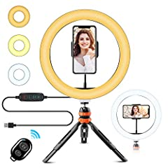 【POWERFUL LED RING LIGHT WITH 120PCS LED】:10 inch LED ring light with tripod stand & phone holder, 120pcs LED beads provide 3000K-6000K lumen which can supply good lighting effect on your makeup, UV free, flicker free, no ghosting, no glare, durable,...
