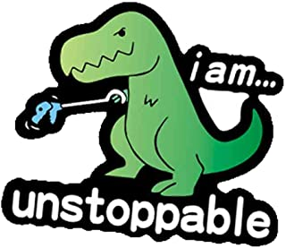 I am Unstoppable T-Rex Funny Decal Vinyl Sticker for Cars Trucks Vans Walls Laptop Toolbox(Green)