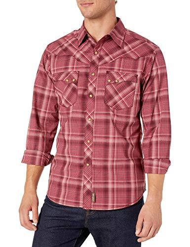 Wrangler Herren Retro Two Pocket Long Sleeve Snap Shirt Hemd, Burgundy Plaid, XX-Large
