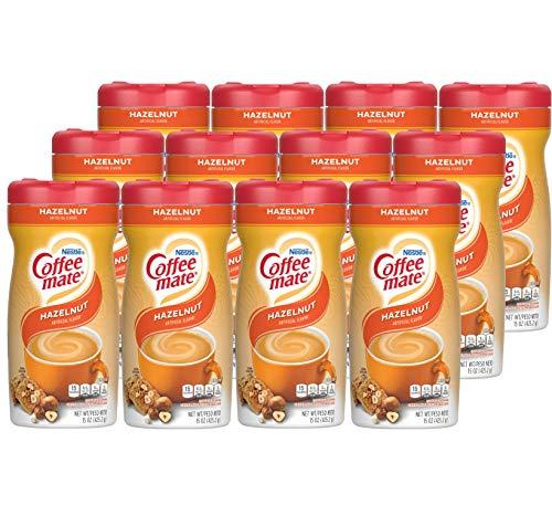 Nestle Coffee mate Coffee Creamer, Hazelnut, Non Dairy Powder Creamer, 15 Ounces (Pack of 12)