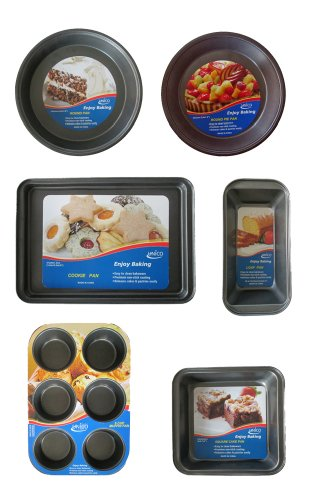 Unico 6 Piece Set Premium Non-Stick Pie, Round, Square, Loaf, Cookie & Muffin Pans Heavy-Gauge Aluminized Steel