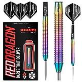 RED DRAGON Razor Edge Spectron Steel Dartpfeile 22 Gramm Profi Steeldarts Set, 3 x Steel Darts mit Flights und Schäfte
