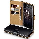 TERRAPIN, Kompatibel mit Sony Xperia XA2 Ultra Hülle, Handy Leder Brieftasche Hülle Tasche mit Standfunktion Kartenfächer - Schwarz mit Hellbraun Interior