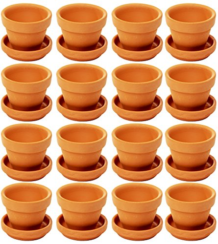 Mini Terra Cotta Pots with Saucers, Flower Clay Pots for Plants, 16 Pack, 4.8 x 3.8 cm