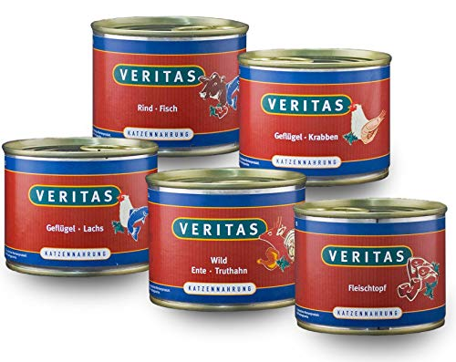 veritas Katzenmenü Mix Katzenfutter nass – 5 Gourmet Sorten Nassfutter für Katzen I Geflügel Fisch Rind Wild Ente Huhn - Katzennassfutter (30x200g)