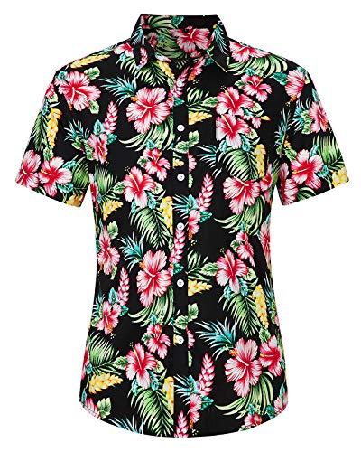 Loveternal Hawaii Hemd Herren 3D Druck Hemd Blumen Funky Hawaii Shirt Freizeit Flowers T-Shirt Baumwolle Kurzarm Hemden L