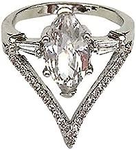 Women Ring White Diamond Heart Jewelry Wedding Band Engagement Rings