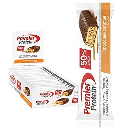 Premier Protein Protein Bar Chocolate Caramel 24x40g - Barras de Proteína con Bajo Contenido de Azúcar