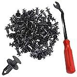 YuCool 100 piezas de nailon para parachoques, remaches de montaje de muebles, kit de tornillos de expansión, clips de cuerpo de 8 mm + 1 alicate