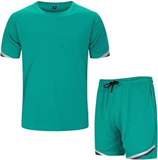 Men's 2 Pieces Athletic Sports Sets T-Shirt and Shorts Set Mesh Tracksuit Outfits