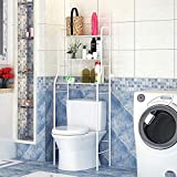 YIFAA Etagère de Salle de Bain MARSA Meuble de Rangement au-Dessus des Toilettes WC ou Lave-Linge avec 3 tablettes, en métal laqué 165 * 55 * 26cm (Blanc)
