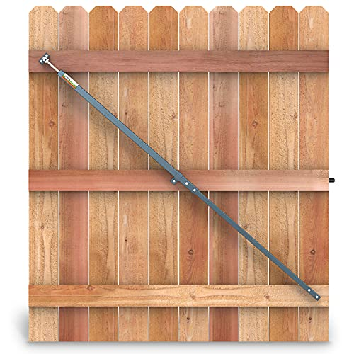 True Latch 6' Telescopic Gate Brace - Wood Privacy Fence Anti Sag Gate Kit - Gate Hardware Kit for Outdoor Wooden Fence Gates, 1 PATENTED USA made brace (6' Telescopic (40' - 74'), Hammered Grey)