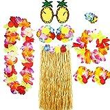Disfraces para Mujer,Falda Hula para Niñas,Faldas de Hierba para Adultos Falda de Traje Hawaiano, Accesorios de Fiesta Hawaiana,Fiesta Luau, Fiesta En La Playa Verano, Leis Hawaianos,Guirnalda Flores