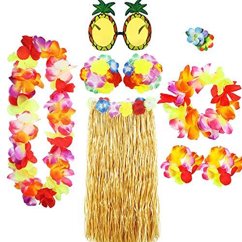 PHOGARY 8 Pezzi Costume Hawaiano, Vestito Operato Hawaiano per Donna, Gonne di Erba per Adulti, Gonna Hula,Ragazza di Hula,Gonna Hawaiana,Accessori per Feste Hawaiane,Dancing Hula,Fiore,Leis Hawaiano