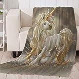 Manta de Franela Unicornio Animal de Dibujos Animados Súper Suave Cálida Acogedora Manta de Lana 3D Impresión para decoración del hogar sofá Cama Viajes 150 x 200 cm