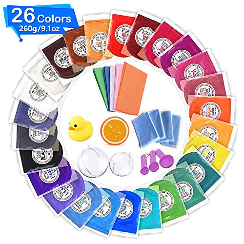 Mica Powder, 26 Colors Total 260g 10g/0.35oz Each Soap Dye for Bath Bomb, Soap Molds, Soap Making Kit with Bomb Molds, Shrink Wrap Bags, Wrapping Papers,Sponge, Toy, Spoons, Powder Pigment Set