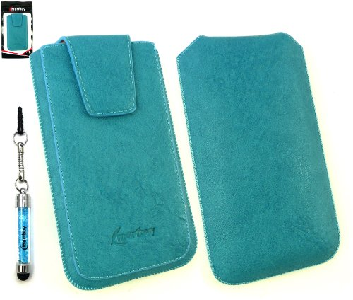 Emartbuy® Schaum Stylus Pack Für Asus Padfone Mini Classic Range Blau Luxury Pu-Leder-Slide In Pouch Hülle Tasche Hülle (Größe Xl) Mit Magnetische Klappe und Pull Tab Mechanism + Sparkling Mini Stylus Blau + Bildschirmschutzfolie