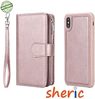 iPhone Xs Max Case, SHERIC Premium Flip Folio Magnetic Detachable TPU + PU Leather Zipper Cover case, Wallet Case with Cash, ID & Credit Card Slots, Protective Armor for iPhone Xs Max (Rose Gold)