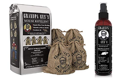 Grandpa Gus's Mouse Repellent Pouches + Mouse Repellent Spray, Made with Peppermint/Cinnamon Oils, Use in Home/RV, Boat/Car Storage & Machinery, 4x1.38oz Burlap Pouches & 1x8oz Bottle Spray