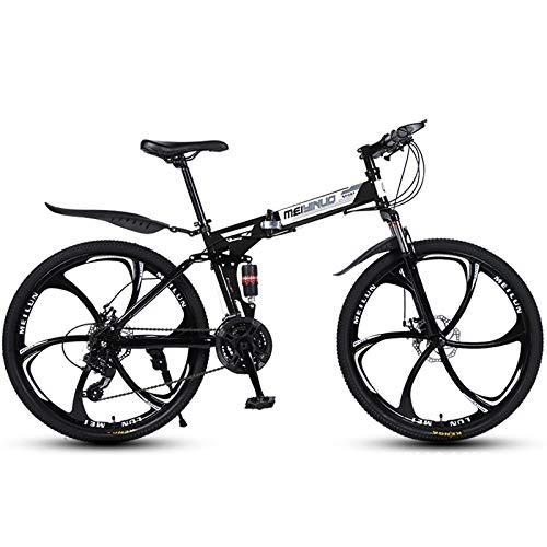 LOISK 26 Pulgadas Bicicleta Plegable, Bicicleta Montaña Doble Absorción Impactos, 21/24/27 Velocidad Bicicleta Carretera para Adolescentes Adultos,Black 6k,21 Speed