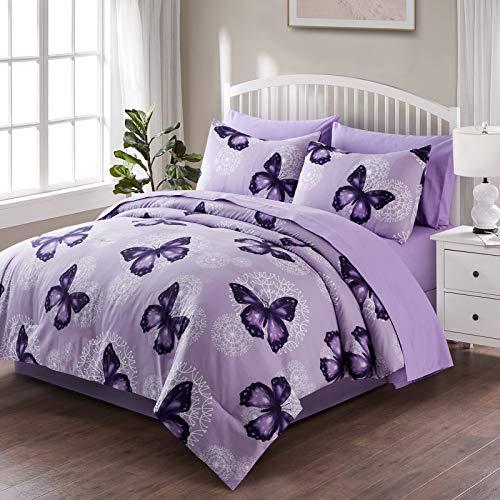 ARTALL Butterfly Pattern Bed in A Bag Bedding 8 Piece Full/Queen Comforter Sets 1 Comforter, 2 Pillow Shams, 1 Flat Sheet, 1 Fitted Sheet, 1 Bed Skirt, 2 Pillowcases