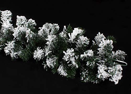Joy Christmas Festone Ghirlanda Natalizia Innevata 200 Rami Treccia Abete 270 cm Decorazione di...