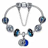 Presentski Bracciale Charms 925 Argento Placcato con Stelle Luna e Perline Blu Regalo del Compleanno o di Natale per Le Donne e Ragazze