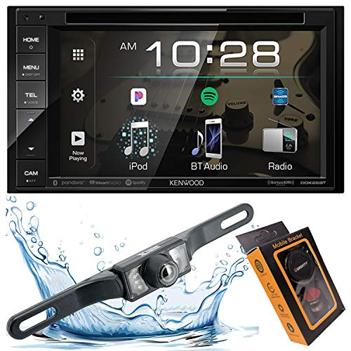 """Kenwood DDX26BT Double DIN SiriusXM Ready Bluetooth in-Dash DVD/CD/AM/FM Car Stereo Receiver w/ 6.2"""" Touchscreen + Backup Camera Included + Gravity Magnet Phone Holder car Receivers Stereo"""