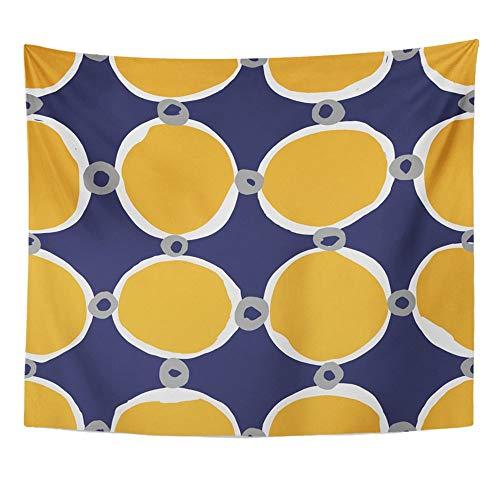 Tapestry Mandala Home Decor Design Blu con Cerchi abbozzati Trendy Semplice ed Elegante per Tutti e scopi Navy per Camera da Letto Soggiorno Dormitorio