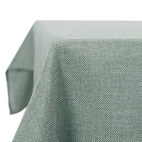 Deconovo Tischdecke Leinenoptik Lotuseffekt Tischwäsche Wasserabweisend Tischtuch 130x220 cm Dunkelgrün