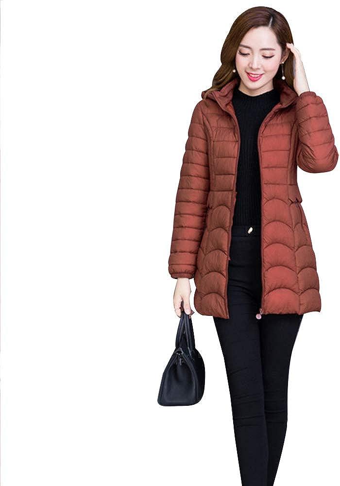 ZEVONDA Womens Winter Coat Casual Lighweight Outerwear Hooded Jacket Plus Sizes