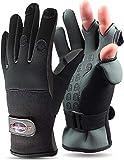 normani Anglerhandschuhe aus Neopren mit umklappbaren Fingerkuppen und Silikon-Innenseite Farbe...