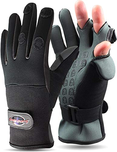 normani Anglerhandschuhe aus Neopren mit umklappbaren Fingerkuppen und Silikon-Innenseite Farbe Schwarz/Grau Größe S