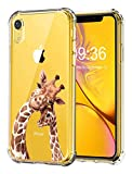 RicHyun Clear Case for iPhone XR, Cute Giraffe with Baby Pattern Print Soft Flexible TPU Bumper Case for iPhone XR 2018