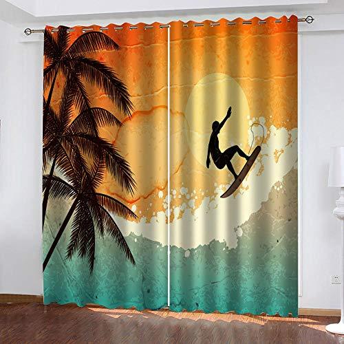 WBDJTX Tende Oscuranti Per Interni Camera Da Letto Soggiorno 3D Surf Oceanico Al Tramonto Motivo Moderna Termiche Isolanti Tende Oscuranti Per Finestre Con Occhielli 300X270 Cm 2 Pannelli