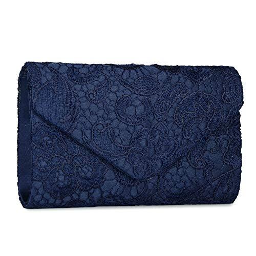 EULovelyPrice Mujer Elegante Encaje Sobre Carteras de Embrague Noche Bolso Bolso de Fiesta para Fiestas y Ocasiones de la Boda (Azul Marino)